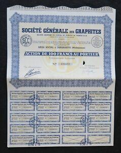 Action 1949 SOCIETE GENERALE DES GRAPHITES TANNANARIVE   titre bond share 4
