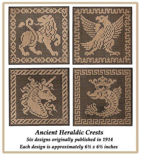 1914 Filet Lace Chart Pack of Ancient Heraldic Crests