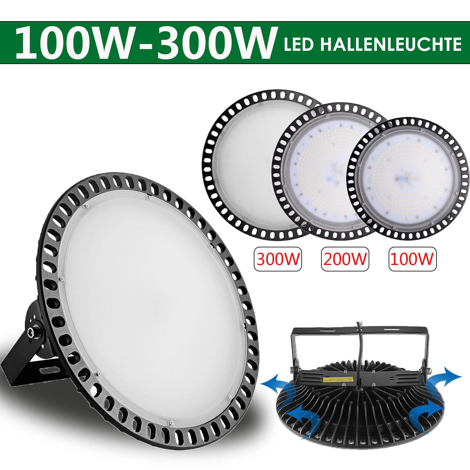 100W 200W 300W UFO LED Hallenleuchte Fluter High Bay Licht Strahler Kaltweiß DHL