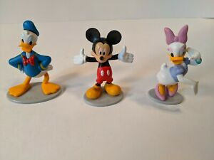 """Donald Daisy Duck Mickey Mouse Set of 3 Disney Figurines 3"""" Tall Topper PVC lot"""