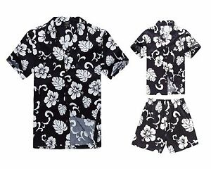Matching Father Son Hawaiian Luau Outfit Men Shirt Boy Shirt Shorts