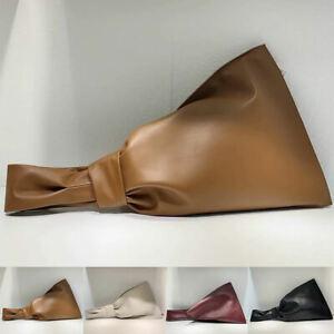 Real-Leather-Knotted-Handle-Twist-Wristlet-Clutch-Sack-Tote-Bag-Bracelet-Purse