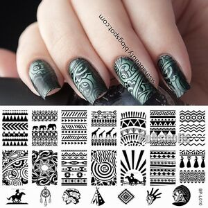Image Is Loading Aztec Pattern Nail Art Stamp Template Stamping