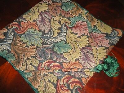 FALL AUTUMN LEAVES TAPESTRY GREEN SPRUCE GOLD TABLE RUNNER WITH FRINGES 13 X 52