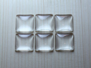 Clear Square Domed Glass Cabochons - SELECT YOUR SIZE - FREE SHIPPING