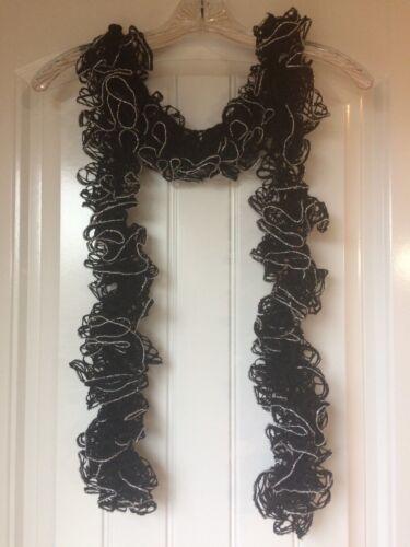 Black Sparkle Handmade Crocheted Fashion Ruffle Scarf