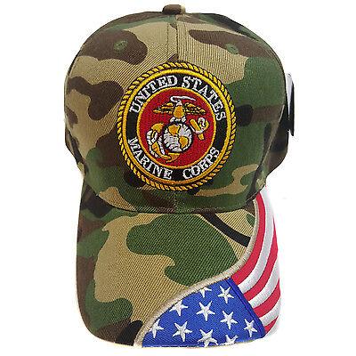 US MILITARY MARINE COPRS WOODLAND CAMOUFLAGE (US Flag Brim) Hat Cap