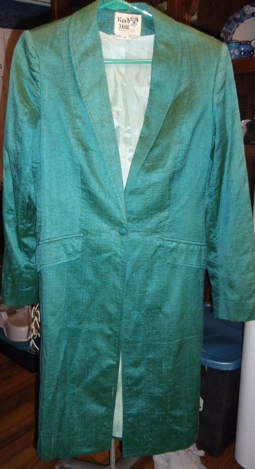 Womans Reedhill Green Silkie Day Coat  Saddle Seat Size 14 Made In USA  great selection & quick delivery