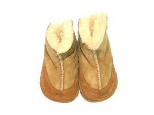 UGG-Baby-Boo-Booties-Size-S-0-12-Mos-Infant-Brown-Suede-Shearling-Sheepskin-Boot