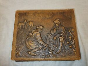 Small-Leather-Effect-Box-Embossed-Nomads-With-Cork-Interior-In-Great-Condition