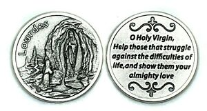 Notre-Dame-de-Lourdes-Blessed-Virgin-Mary-Protection-Token-Coin-Medaille-amp