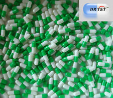 DR T&T 100 Empty Green white Gelatine Gelatin capsules capsule size00 size 00