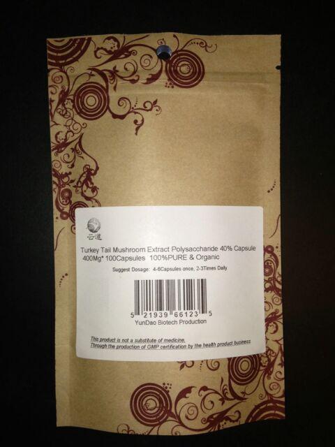 Rainbow Coriolus Trametes Turkey Tail Mushroom Extract 100 Capsules, 40% polyose