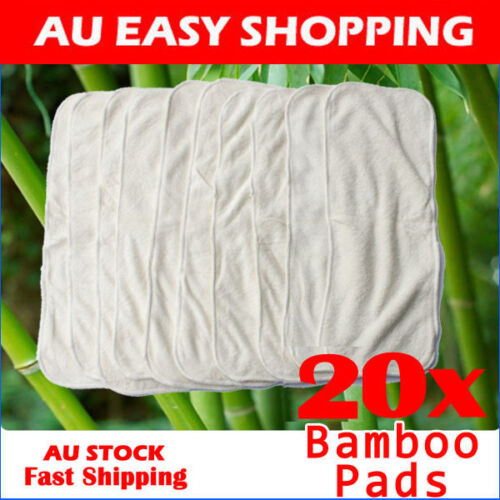 20 x Bamboo White Cotton Liner Insert Booster Pads Cloth Reusable NappyDiaper A