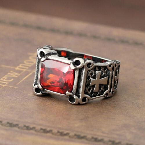 Men/'s Vintage Crusader Templar Cross Black Onyx Ruby Red CZ Stainless Steel Ring