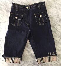Authentic Burberry Baby Boy Girl Denim Plaid Checker Jeans Sz 12m / 80cm