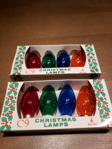 8 NORTHERN LIGHTS C9 TRANSPARENT MULTI COLOR CHRISTMAS LAMPS BULBS VINTAGE