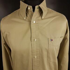 Tommy-Hilfiger-Mens-Vintage-THICK-Shirt-2XL-Long-Sleeve-Beige-Regular-Fit-Cotton