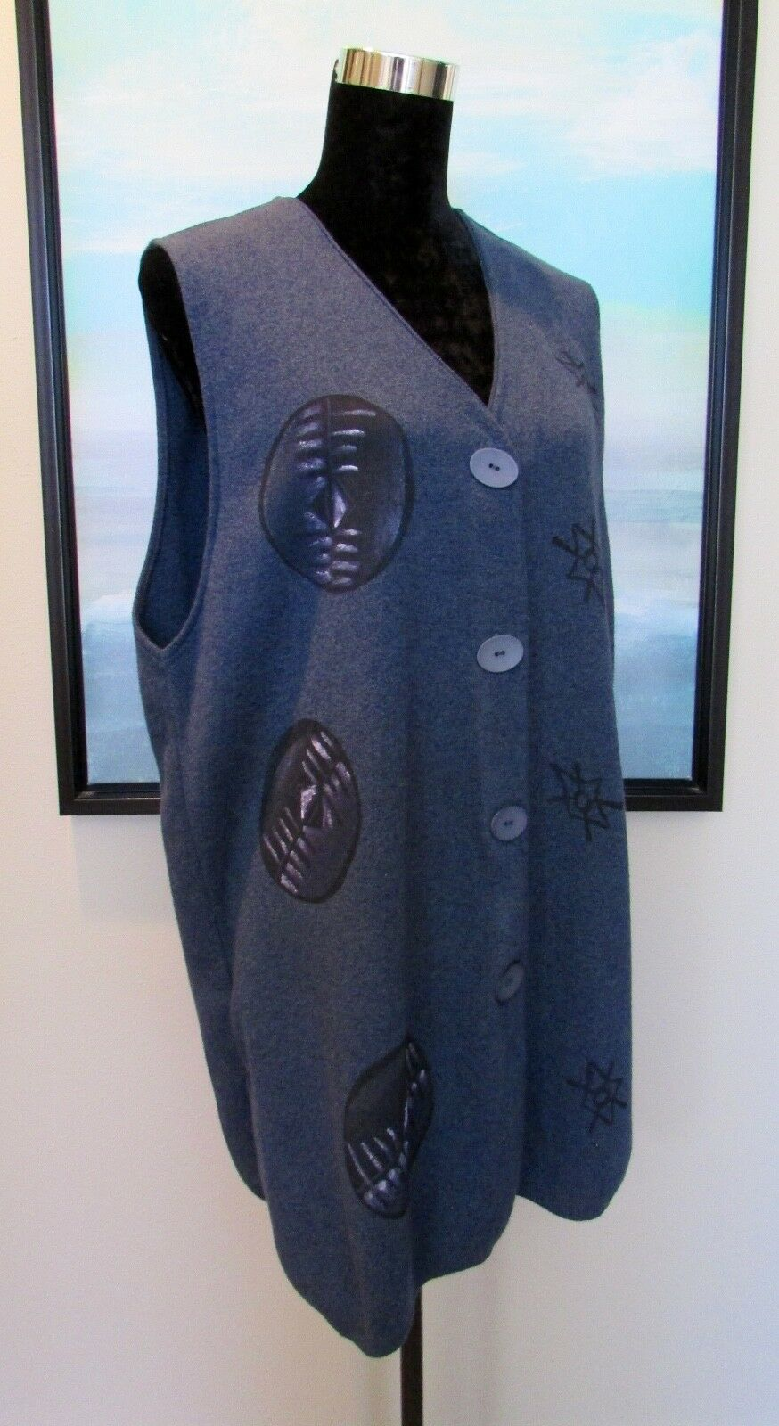 blueE FISH bluee Knit Cotton Vest One Size