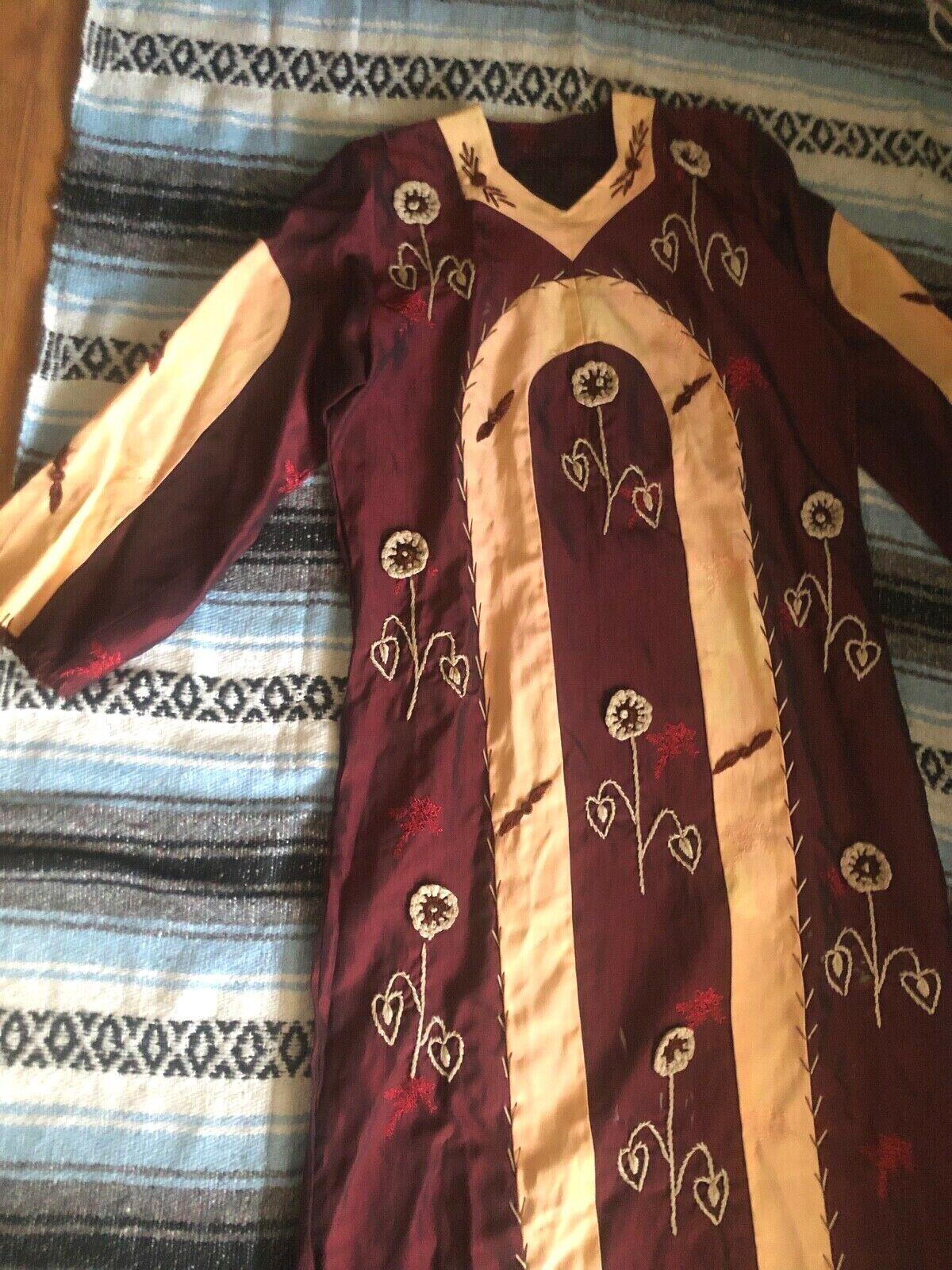 Vtg 60s 70s Ethnic PATCHWORK Crochet FLORALEmbroi… - image 2