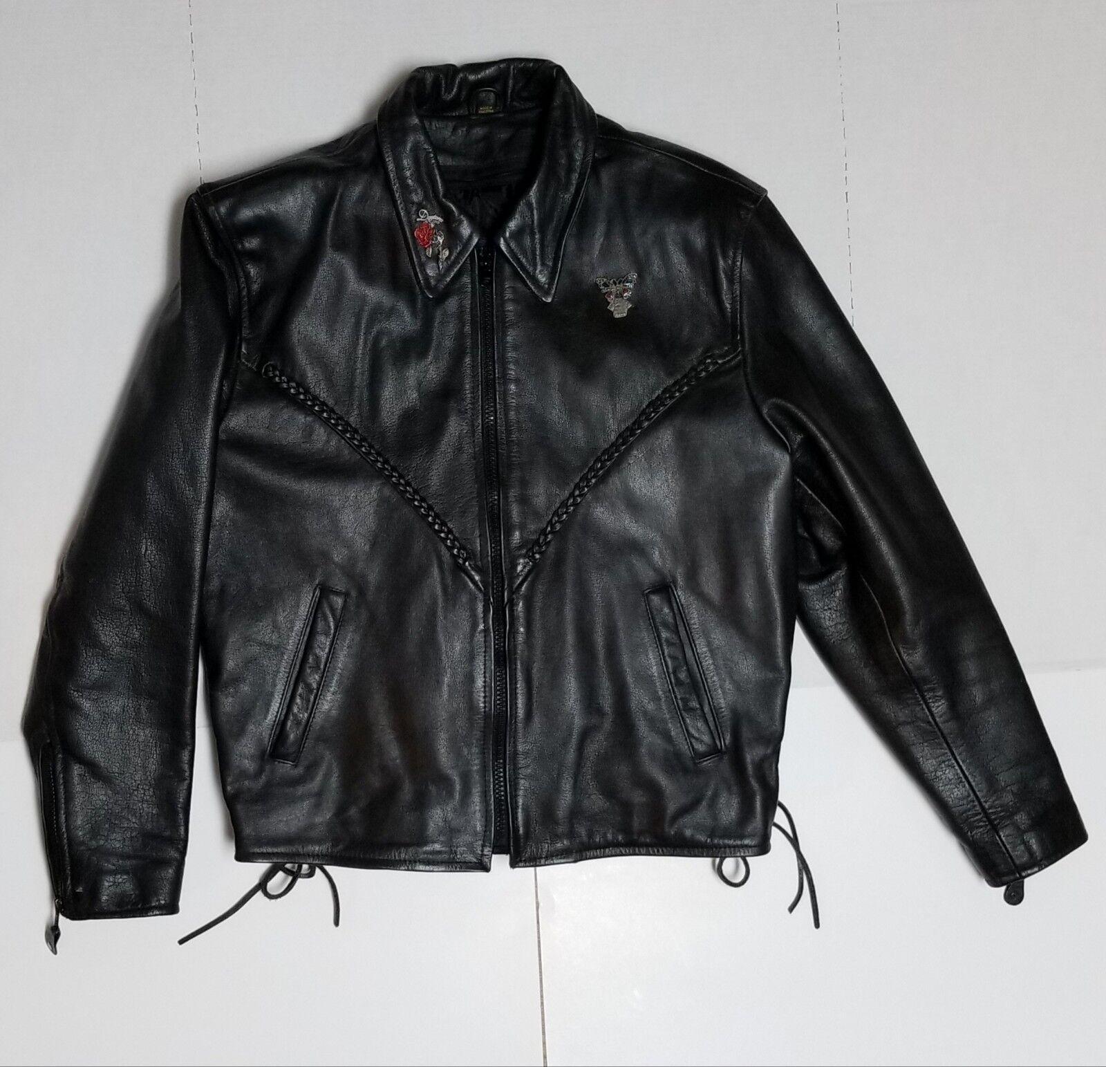 Para mujer Chaqueta de cuero de la  motocicleta Barney Tamaño Extra Grande Negro Seminuevo  cómodamente