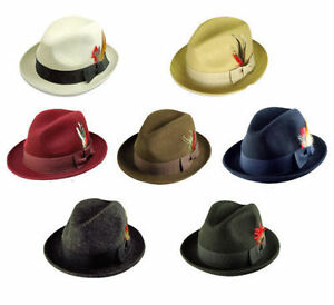 New-Men-039-s-100-Wool-Fedora-Trilby-GodFather-Hat-Style-LH-1-Size-S-M-L-XL