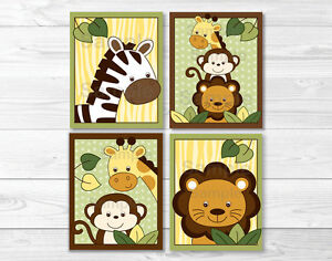 Safari Wall Art safari jungle animal nursery wall art printable | ebay