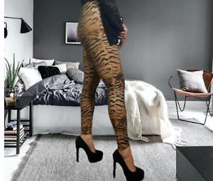 Super High Waist Leggings Animal Print Women/'s Ladies Wet Look Hugging Pants