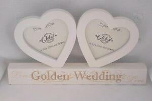 Photo-Frame-Double-Heart-Golden-Wedding-Anniversary-50th-50-Years-Wooden-F0890E