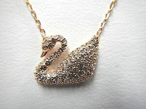 fd4a6a79190b2 Details about SWAN CRYSTAL PENDANT NECKLACE ROSE GOLD PLATED 2015 SWAROVSKI  JEWELRY 5121597