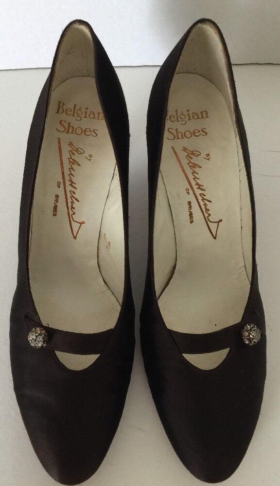 Vintage Brown Satin BELGIAN BELGIAN BELGIAN SHOES By Bruges Debusschere 7-1 2 AA e288e4