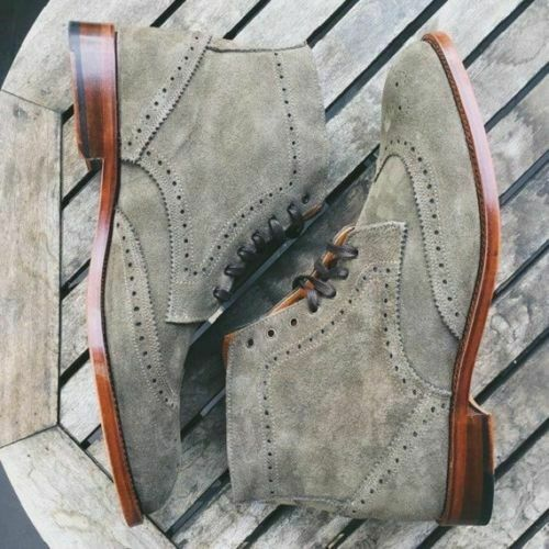 Mens Handmade Boots Wingtip Brogue Grey Suede Leather Formal Dress Casual shoes