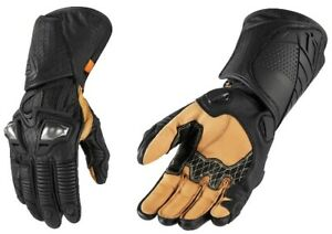 Icon Motosports HYPERSPORT Short Leather Riding Gloves Choose Size Black