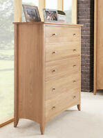 Edward Hopper Oak 5 Drawer Chest, Large Chest Of Drawers,metal Runners,assembled
