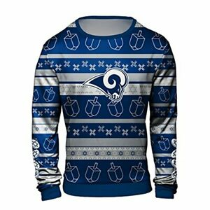 the latest 890e0 4b40a Details about Forever Collectibles NFL Men's Los Angeles Rams Hanukkah Ugly  Sweater