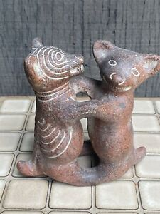 Mexican-Folk-Art-Clay-Terracotta-Pottery-Pre-Columbian-Dancing-Hug-Dogs-Colima