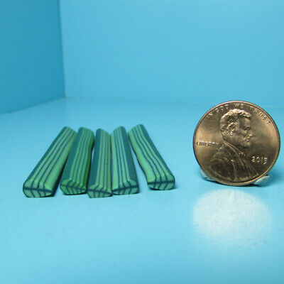 Dollhouse Miniature Green Lime Fruit Polymer Clay Canes Set of 5