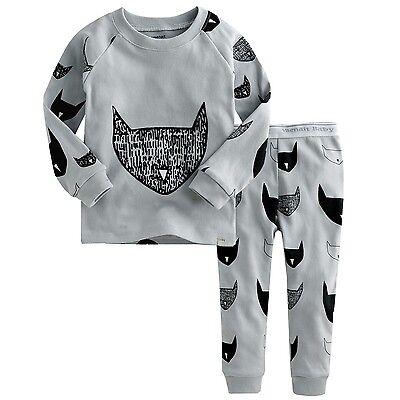 "2Pcs Vaenait Baby Infant Toddler Kid Boys Clothes Sleepwear Pajama ""Cat Mask"""