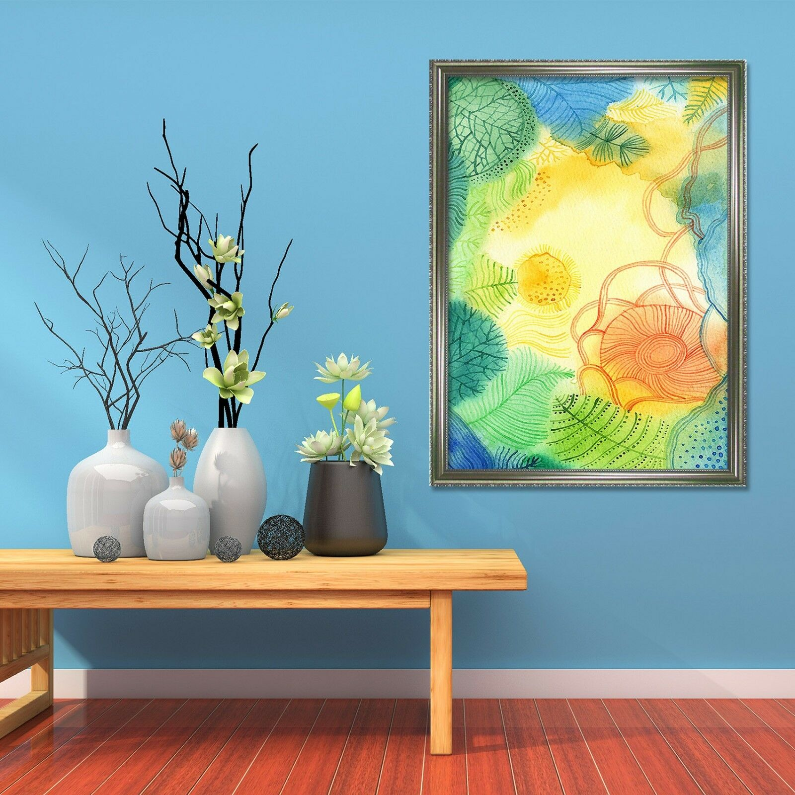 3D Ink Painting Lotus 69 Framed Poster Home Decor Print Painting Art AJ UK