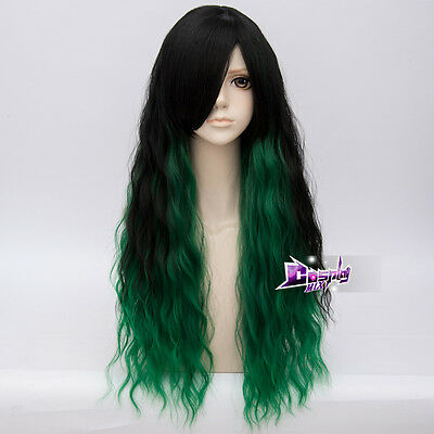 """Lolita 28"""" Long Black Mixed Green Curly Anime Women Cosplay Wig Heat Resistant"""
