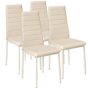 4x-Esszimmerstuhl-Set-Stuehle-Kuechenstuhl-Hochlehner-Wartezimmer-Stuhl-beige-neu
