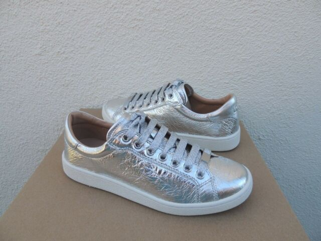 3848a85bea1 UGG Milo Metallic Silver SNEAKERS Womens Size 7.5 Leather Shoes Style  1096356