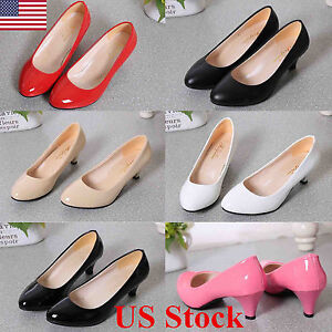 New-Ladies-Low-Mid-Kitten-Heel-Pointed-Toe-Court-Work-Office-Womens-Pumps-Shoes