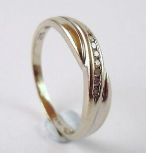 100-Genuine-Vintage-9ct-Solid-White-Gold-Diamond-Crossover-Eternity-Ring-Sz-5-5