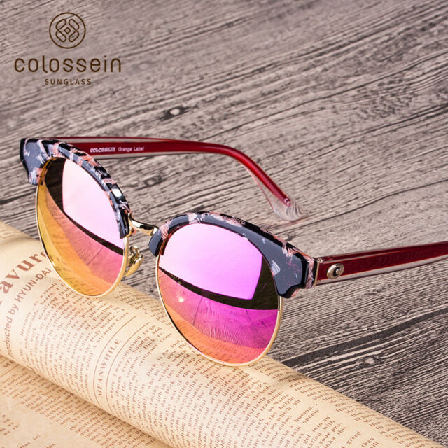 2a2d374e0d COLOSSEIN Women Fashion Round Sunglasses Eyewear Acetate Frame Polarized  Lens