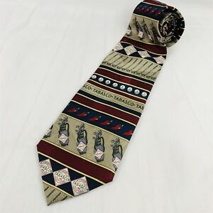 Tabasco-Men-039-s-Neck-Tie-Golf-Theme-Silk-Maroon-Blue
