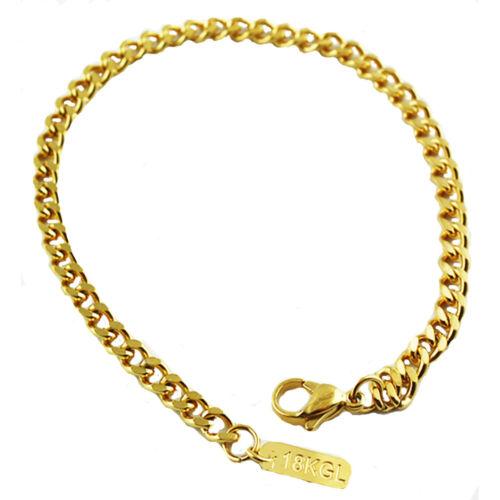 Chain Necklace Bracelet 18k gold plated  Link Curb Cuban 4mm 7-36/'/' Men/'s