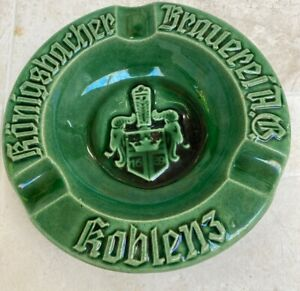 Vintage Ashtray: Konigsbacher Brauerei A.G. KOBLENZ Germany Green Pottery 1689