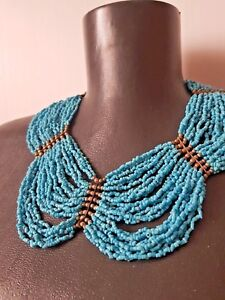 Vintage-multi-strand-turquoise-colour-glass-seed-beads-necklace-bohemian