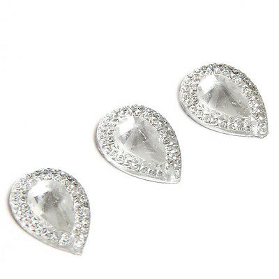 50x 24840 Faceted Teardrop Clear Rhinestone Resin Sew -on Embellishment 18x13mm